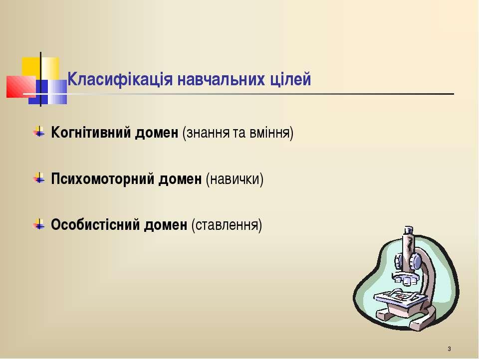 * Класифікація навчальних цілей Когнітивний домен (знання та вміння) Психомот...