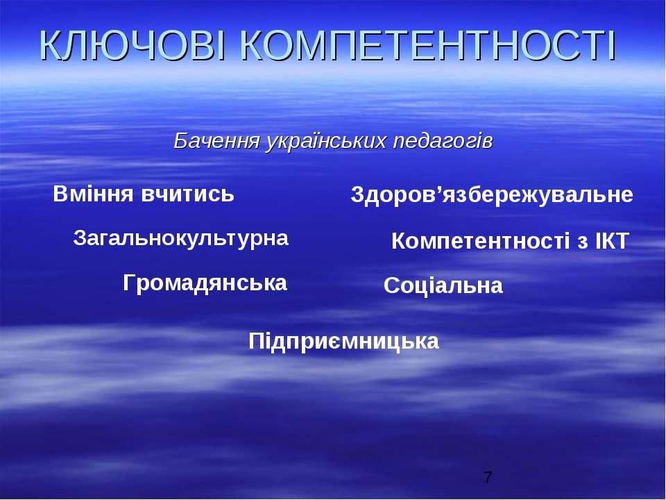 КЛЮЧОВІ КОМПЕТЕНТНОСТІ Бачення українських педагогів Вміння вчитись Загальнок...