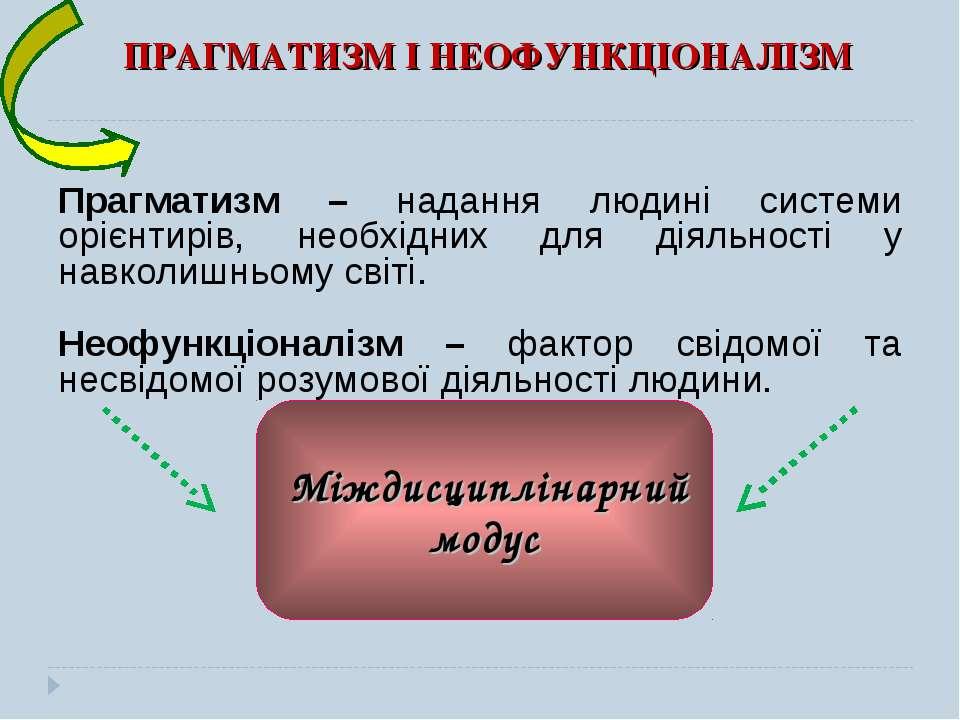 ПРАГМАТИЗМ І НЕОФУНКЦІОНАЛІЗМ Прагматизм – надання людині системи орієнтирів,...