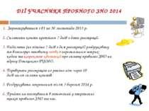 ДІЇ УЧАСНИКА ПРОБНОГО ЗНО 2014 1. Зареєструватися з 01 по 30 листопада 2013 р...