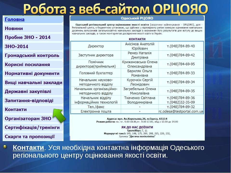 Контакти. Уся необхідна контактна інформація Одеського регіонального центру о...