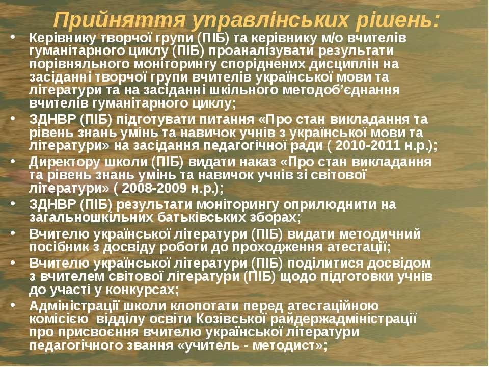 Прийняття управлінських рішень: Керівнику творчої групи (ПІБ) та керівнику м/...