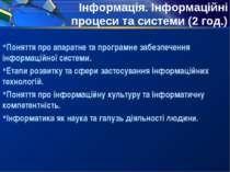 Інформація. Інформаційні процеси та системи (2 год.) Поняття про апаратне та ...