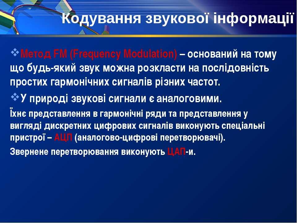 Кодування звукової інформації Метод FM (Frequency Modulation) – оснований на ...
