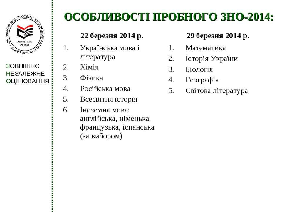 ОСОБЛИВОСТІ ПРОБНОГО ЗНО-2014: 22 березня 2014 р. 29 березня 2014 р. Українсь...