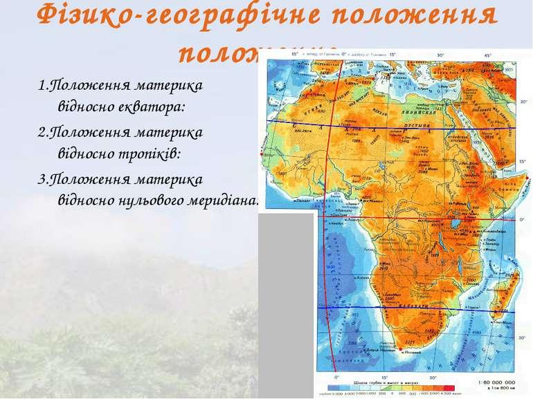Фізико-географічне положення положение 1.Положення материка відносно екватора...