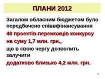 * ПЛАНИ 2012 Загалом обласним бюджетом було передбачено співвфінансування 40 ...