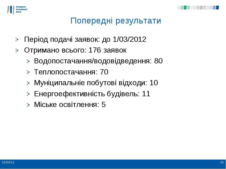 Попередні результати Період подачі заявок: до 1/03/2012 Отримано всього: 176 ...