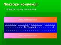 Фактори конвекції: Швидкість руху теплоносія. t 1 СТІНКА ТЕПЛООБМІННИКА t 2 -...