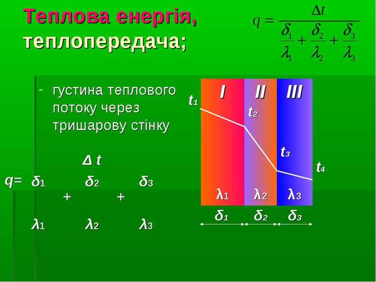 Теплова енергія, теплопередача; густина теплового потоку через тришарову стін...