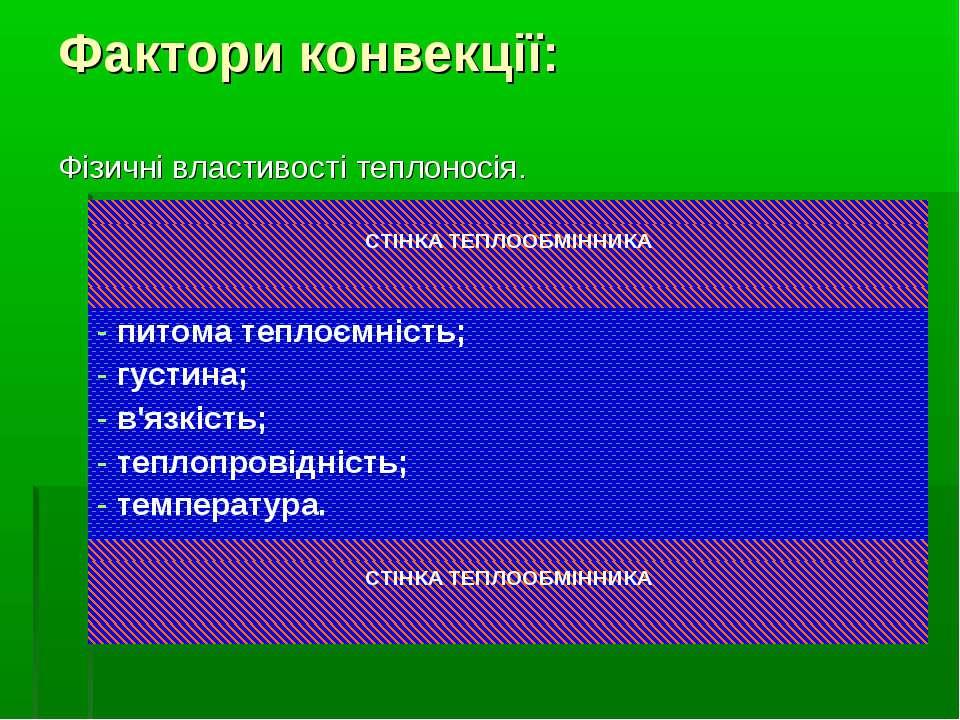 Фактори конвекції: Фізичні властивості теплоносія.