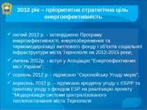 лютий 2012 р. - затверджено Програму енергоефективності, енергозбереження та ...
