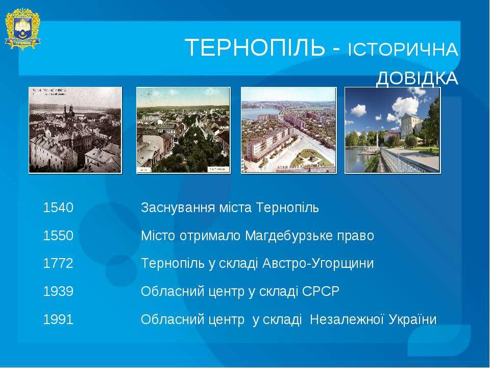 ТЕРНОПІЛЬ - ІСТОРИЧНА ДОВІДКА 1540 Заснування міста Тернопіль 1550 Місто отри...