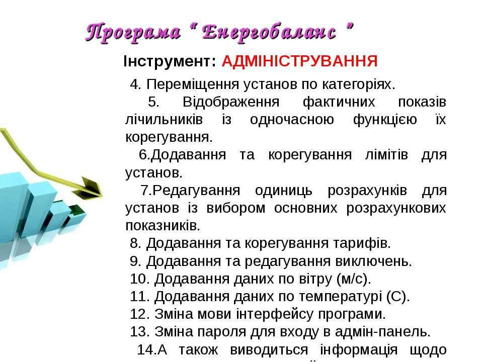 """Програма """" Енергобаланс """" 4. Переміщення установ по категоріях. 5. Відображен..."""