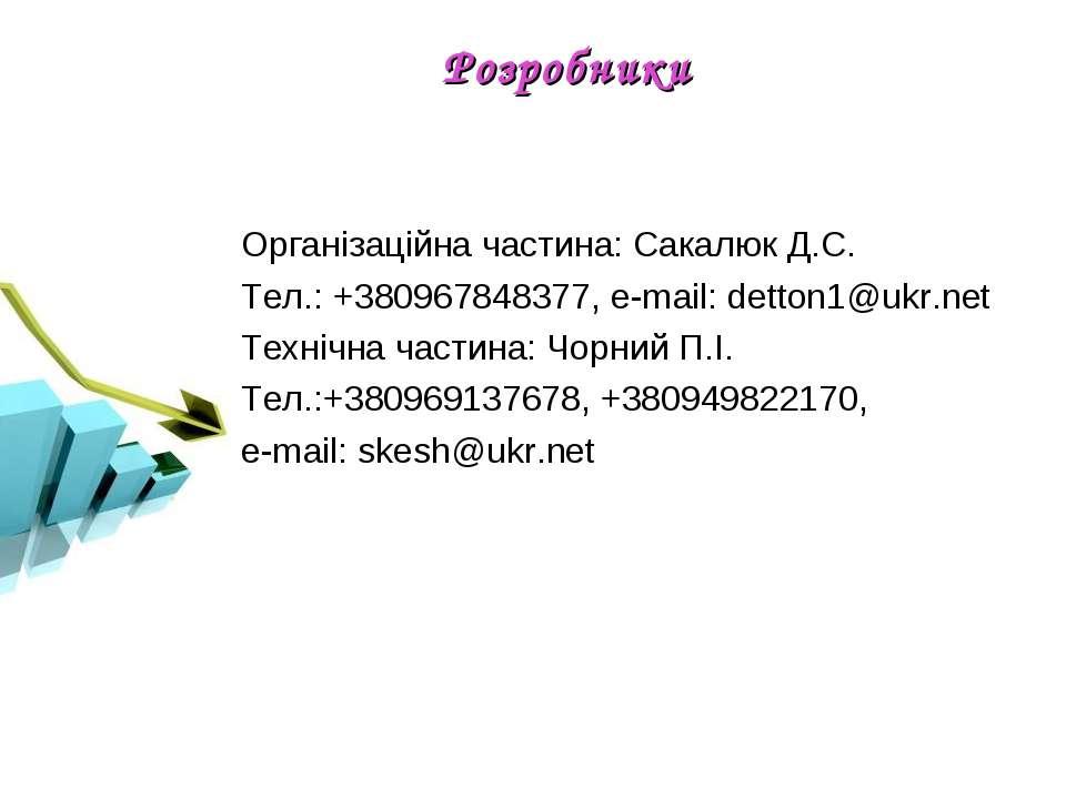 Організаційна частина: Сакалюк Д.С. Тел.: +380967848377, e-mail: detton1@ukr....