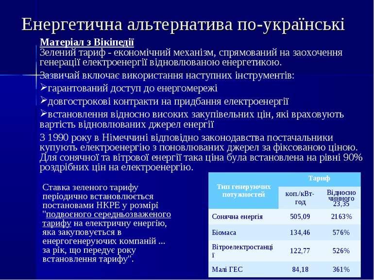 Матеріал з Вікіпедії Зелений тариф - економічний механізм, спрямований на зао...