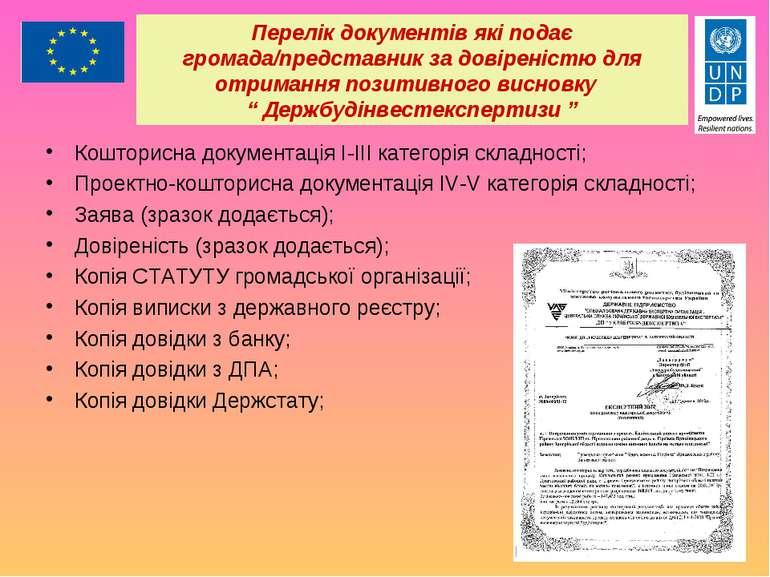 Перелік документів які подає громада/представник за довіреністю для отримання...