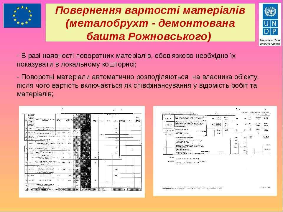 Повернення вартості матеріалів (металобрухт - демонтована башта Рожновського)...