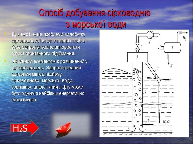Спосіб добування сірководню з морської води Для вирішення проблеми видобутку ...