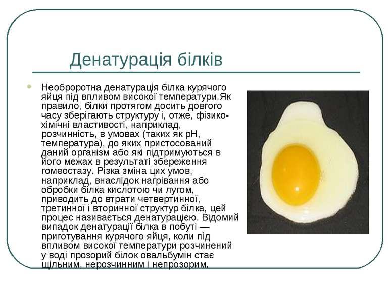 Денатурація білків Необроротна денатурація білка курячого яйця під впливом ви...