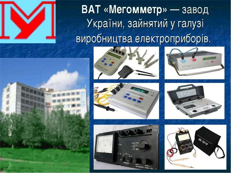 ВАТ «Мегомметр»— завод України, зайнятий у галузі виробництва електроприборів.