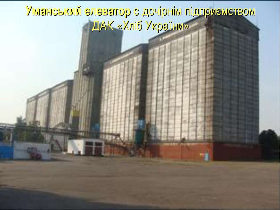 Уманський елеватор є дочірнім підприємством ДАК «Хліб України»