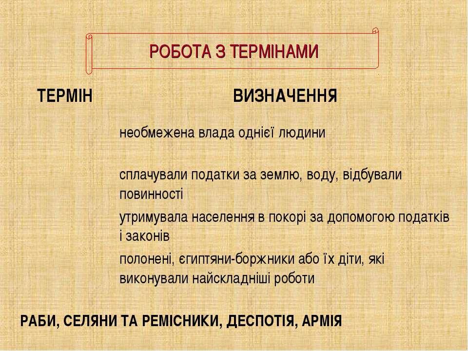 РОБОТА З ТЕРМІНАМИ РАБИ, СЕЛЯНИ ТА РЕМІСНИКИ, ДЕСПОТІЯ, АРМІЯ ТЕРМІН ВИЗНАЧЕН...
