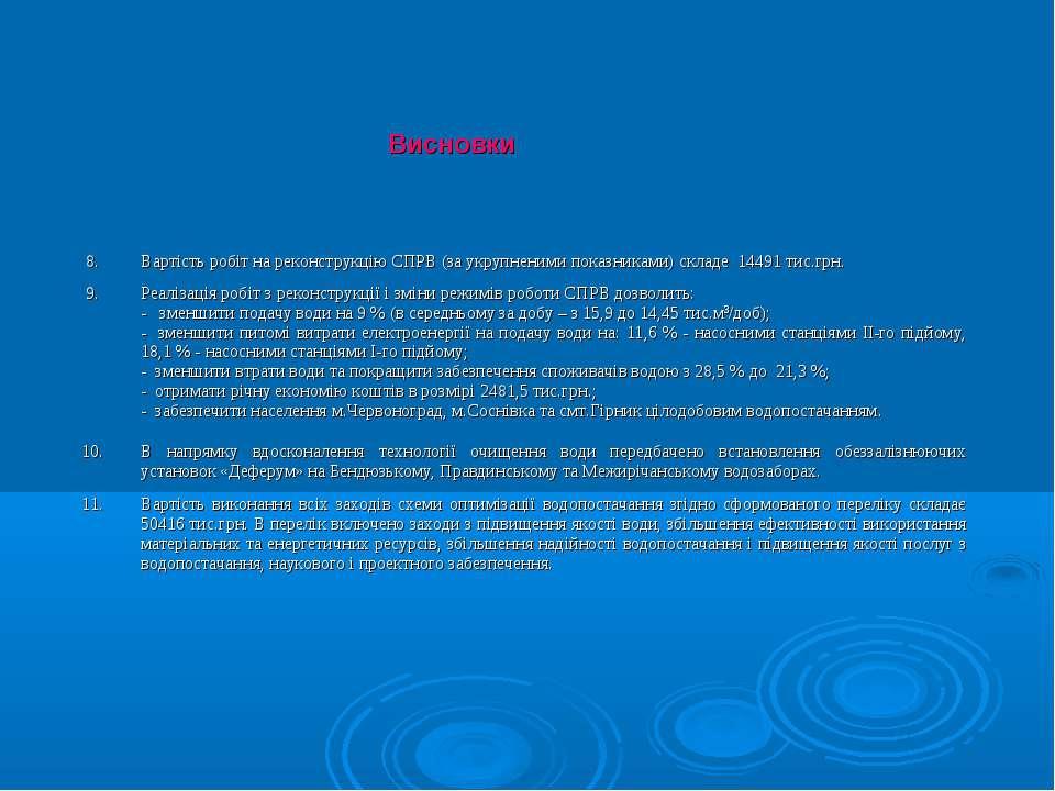 Висновки 8. Вартість робіт на реконструкцію СПРВ (за укрупненими показниками)...