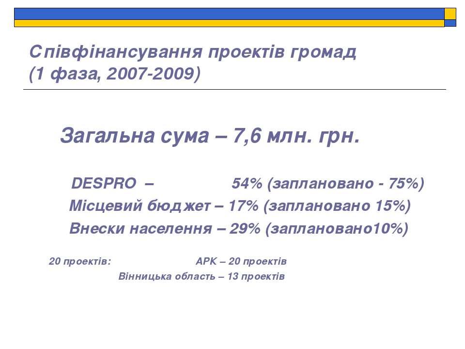 Співфінансування проектів громад (1 фаза, 2007-2009) Загальна сума – 7,6 млн....