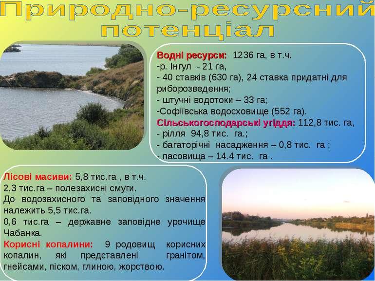 Водні ресурси: 1236 га, в т.ч. р. Інгул - 21 га, 40 ставків (630 га), 24 став...