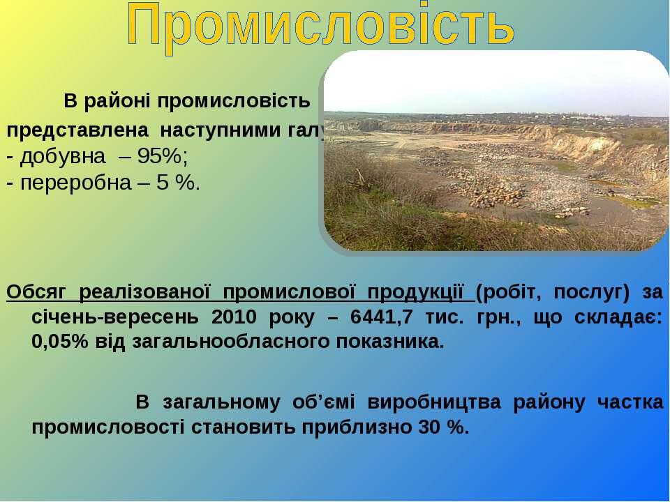 В районі промисловість представлена наступними галузями: - добувна – 95%; - п...