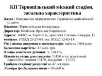 КП Тернопільський міський стадіон, загальна характеристика Назва : Комунальне...