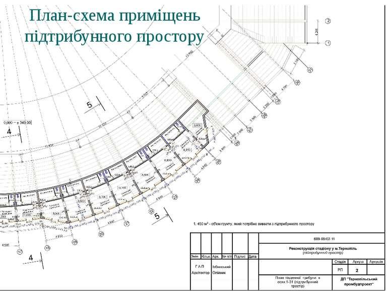 План-схема приміщень підтрибунного простору
