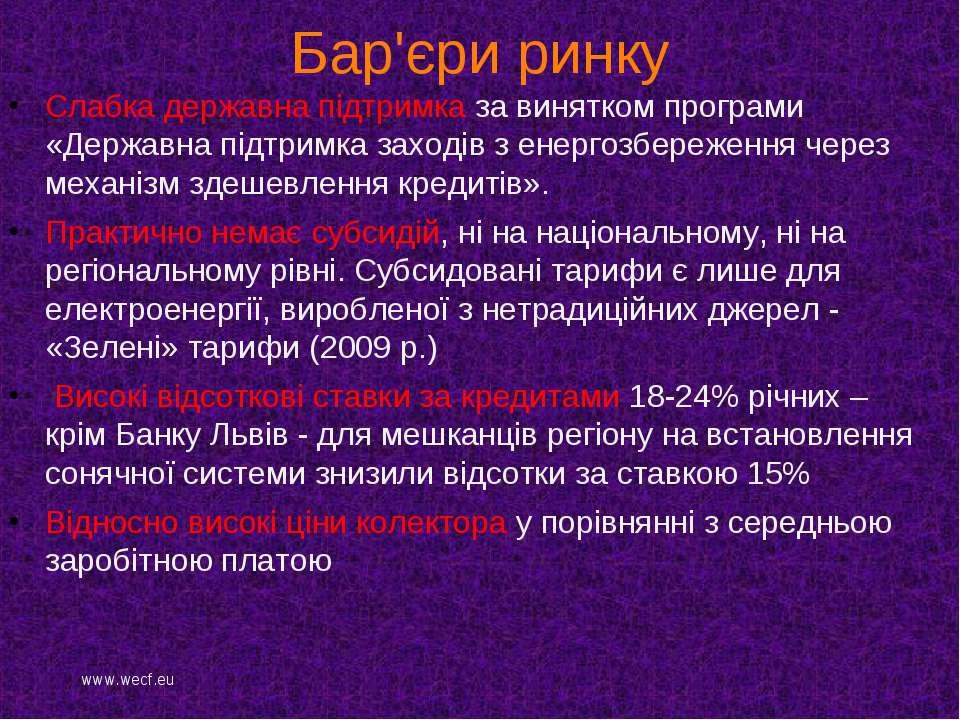 Бар'єри ринку Слабка державна підтримка за винятком програми «Державна підтри...