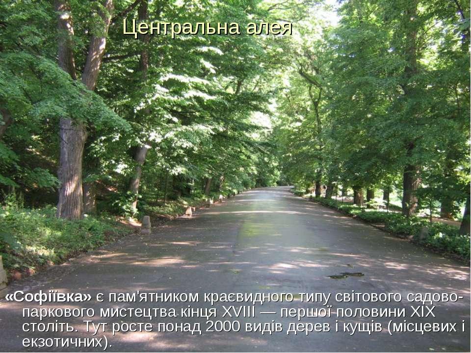 Центральна алея «Софіївка» є пам'ятником краєвидного типу світового садово-па...
