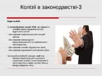 Колізії в законодавстві-3 Види колізій: 1) за юридичною силою НПА, що вміщают...