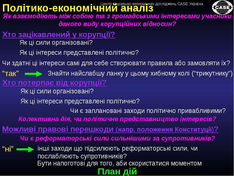 План дій Політико-економічний аналіз Хто зацікавлений у корупції? Як ці сили ...
