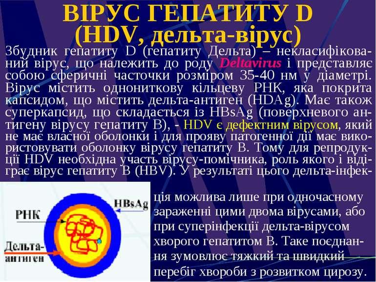 ВІРУС ГЕПАТИТУ D (HDV, дельта-вірус) Збудник гепатиту D (гепатиту Дельта) – н...
