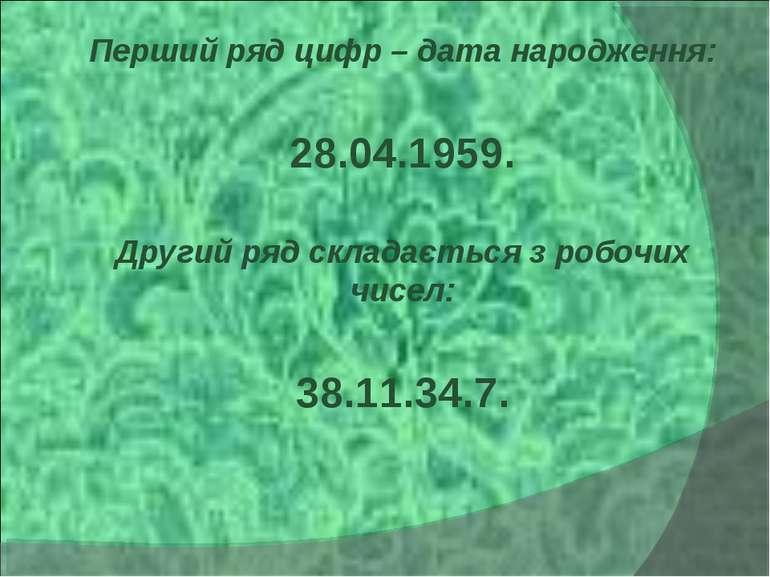 Перший ряд цифр – дата народження: 28.04.1959. Другий ряд складається з робоч...
