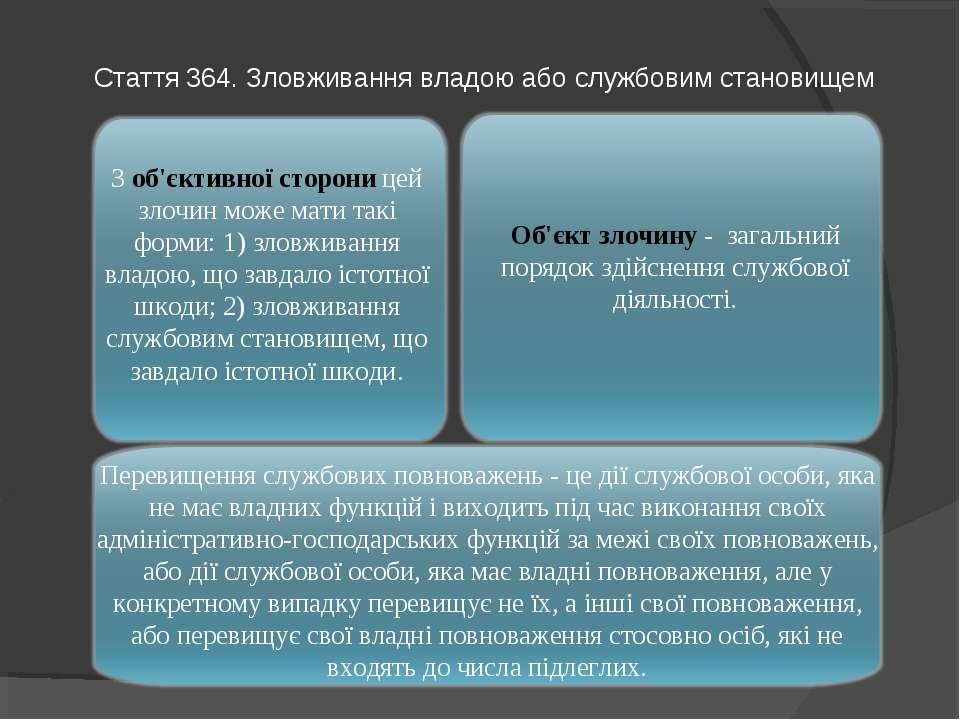 Стаття 364. Зловживання владою або службовим становищем Перевищення службових...