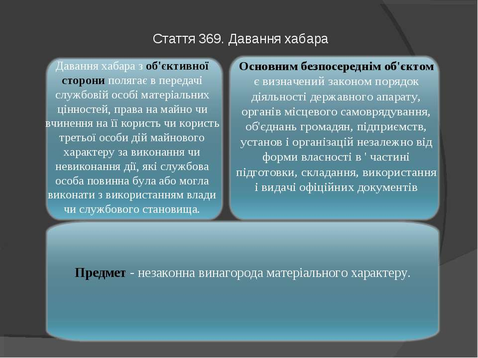 Стаття 369. Давання хабара Предмет - незаконна винагорода матеріального харак...