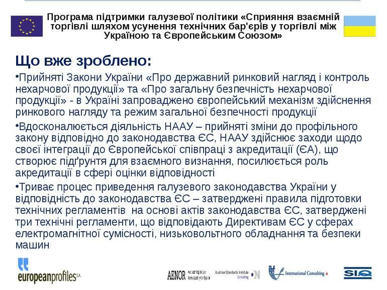 Що вже зроблено: Прийняті Закони України «Про державний ринковий нагляд і кон...