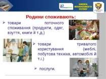 Родини споживають: товари поточного споживання (продукти, одяг, взуття, книги...