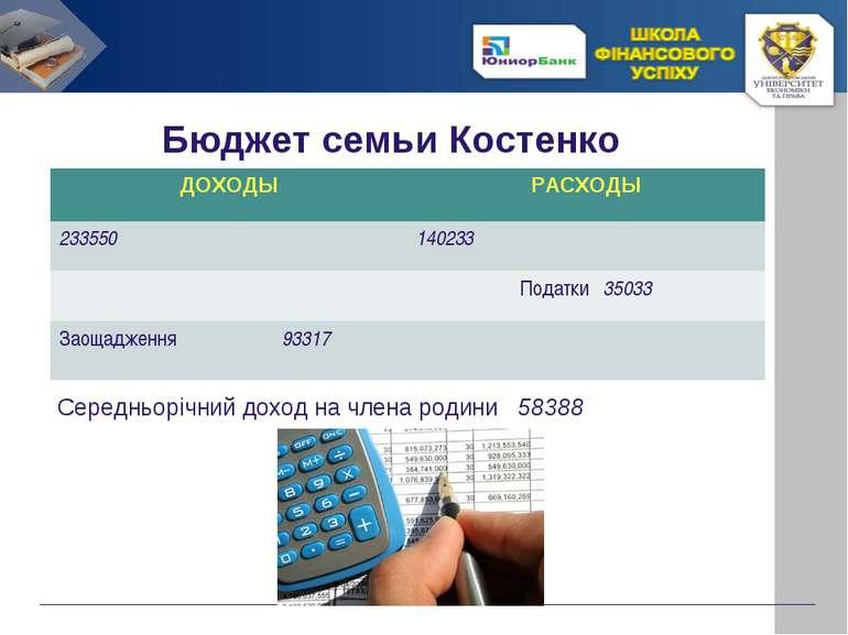 Бюджет семьи Костенко Середньорічний доход на члена родини 58388 ДОХОДЫ РАСХО...