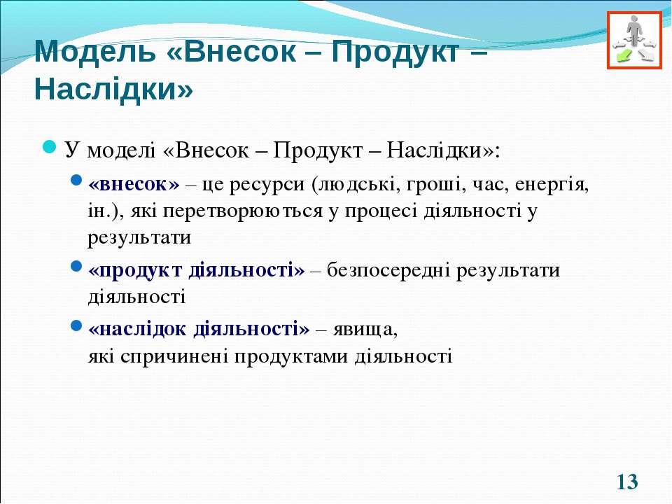 * Модель «Внесок – Продукт – Наслідки» У моделі «Внесок – Продукт – Наслідки»...