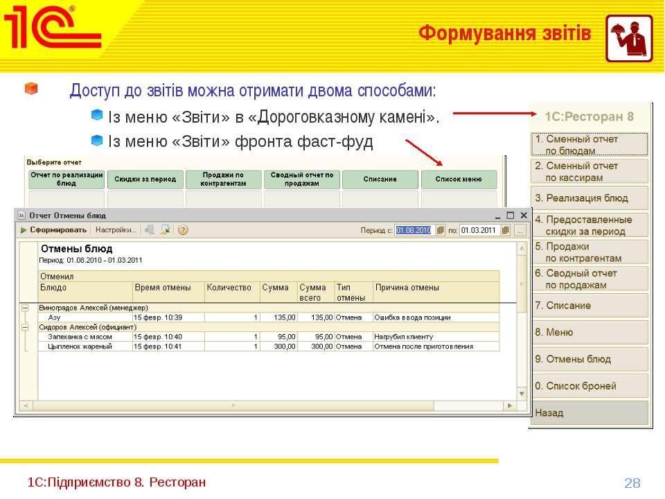 1С:Підприємство 8. Ресторан Формування звітів Доступ до звітів можна отримати...