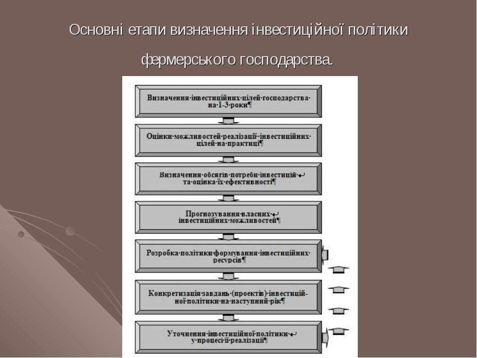 Основні етапи визначення інвестиційної політики фермерського господарства.