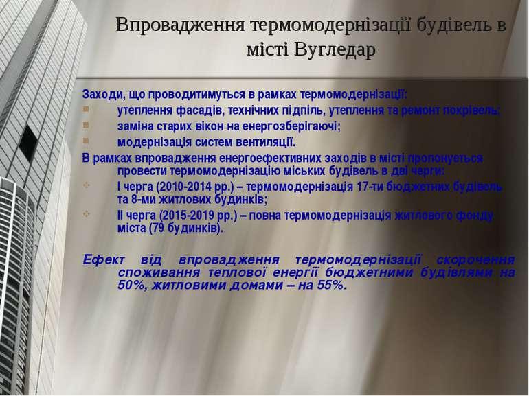 Впровадження термомодернізації будівель в місті Вугледар Заходи, що проводити...