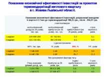 Показники економічної ефективності інвестицій за проектом термомодернізації ж...