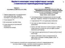 Варіанти можливих енергоефективних заходів з комплексної термомодернізації бу...